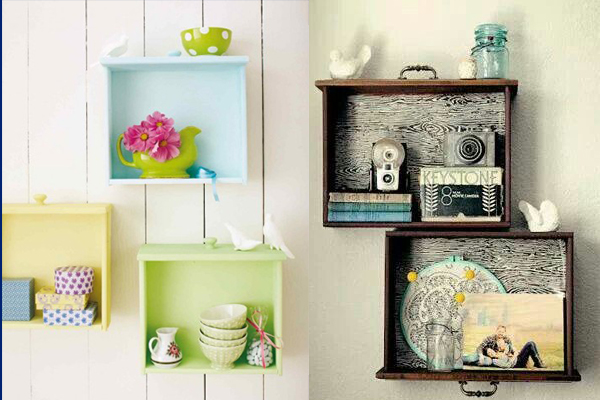 Image Courtesy: http://www.homedit.com/beautiful-diy-wall-shelves-of-used-drawers/; http://www.apartmenttherapy.com/small-living-room-ideas-25-diy-space-saving-projects-202206