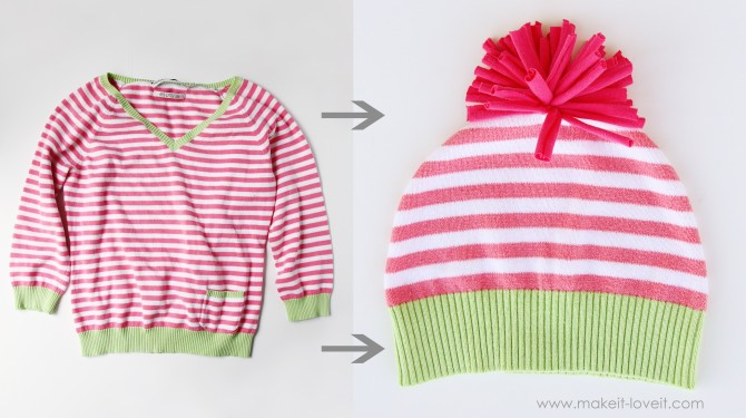 Image Courtesy: http://www.makeit-loveit.com/2012/02/hats-made-from-old-sweaters-nothing-is-safe-from-my-scissors-ha.html